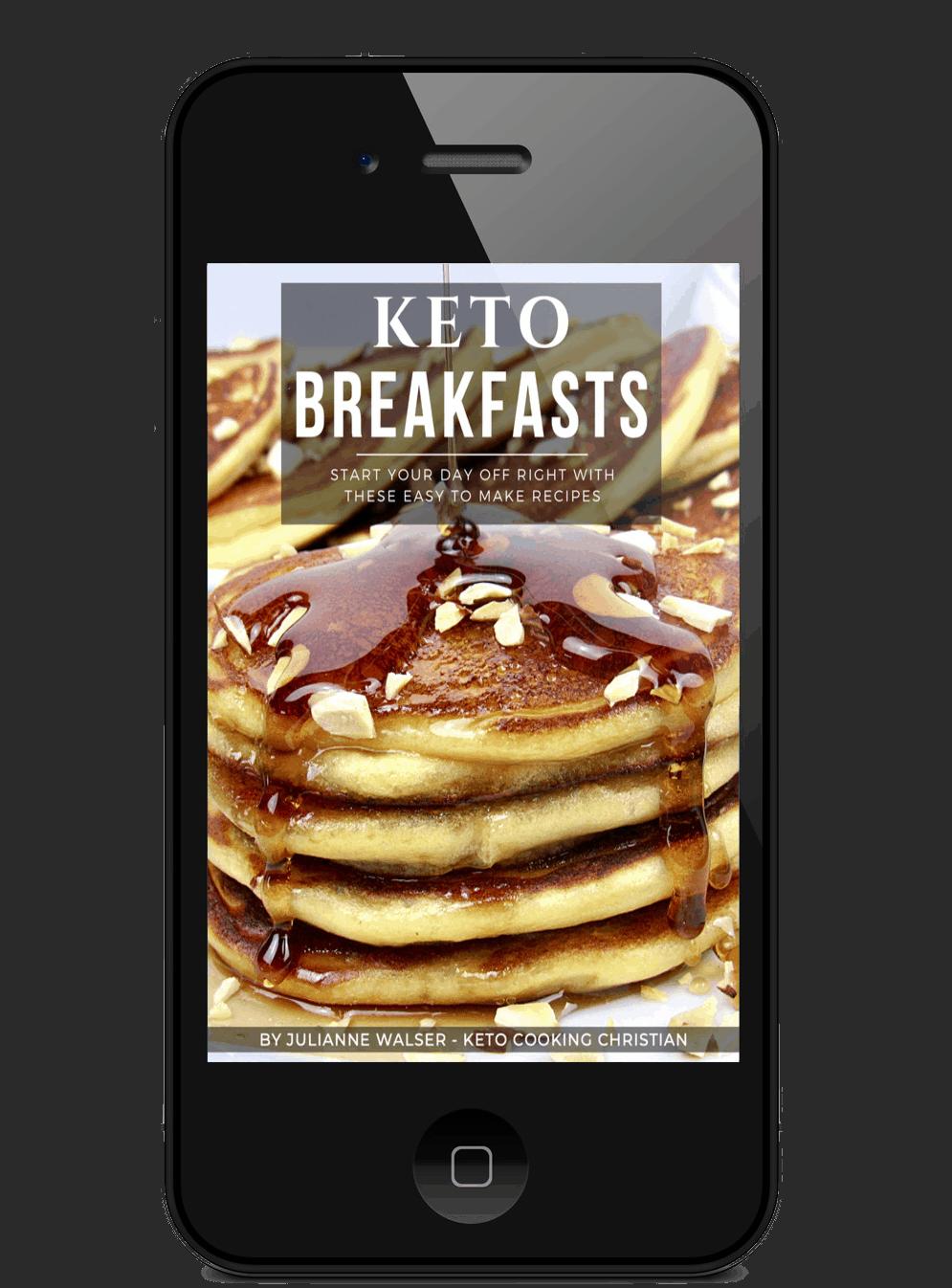 Keto Breakfast eBook on Mobile device