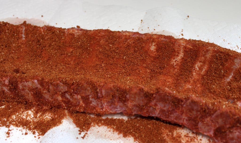 rack of ribs with dry rub