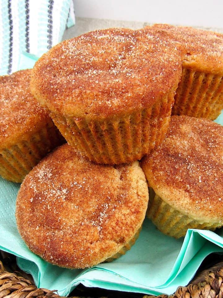 closeup basket of snickerdoodle muffins