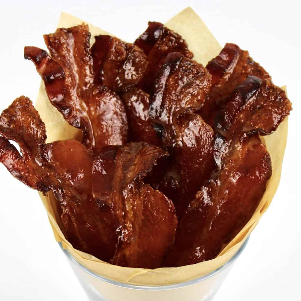 candied bacon in glass
