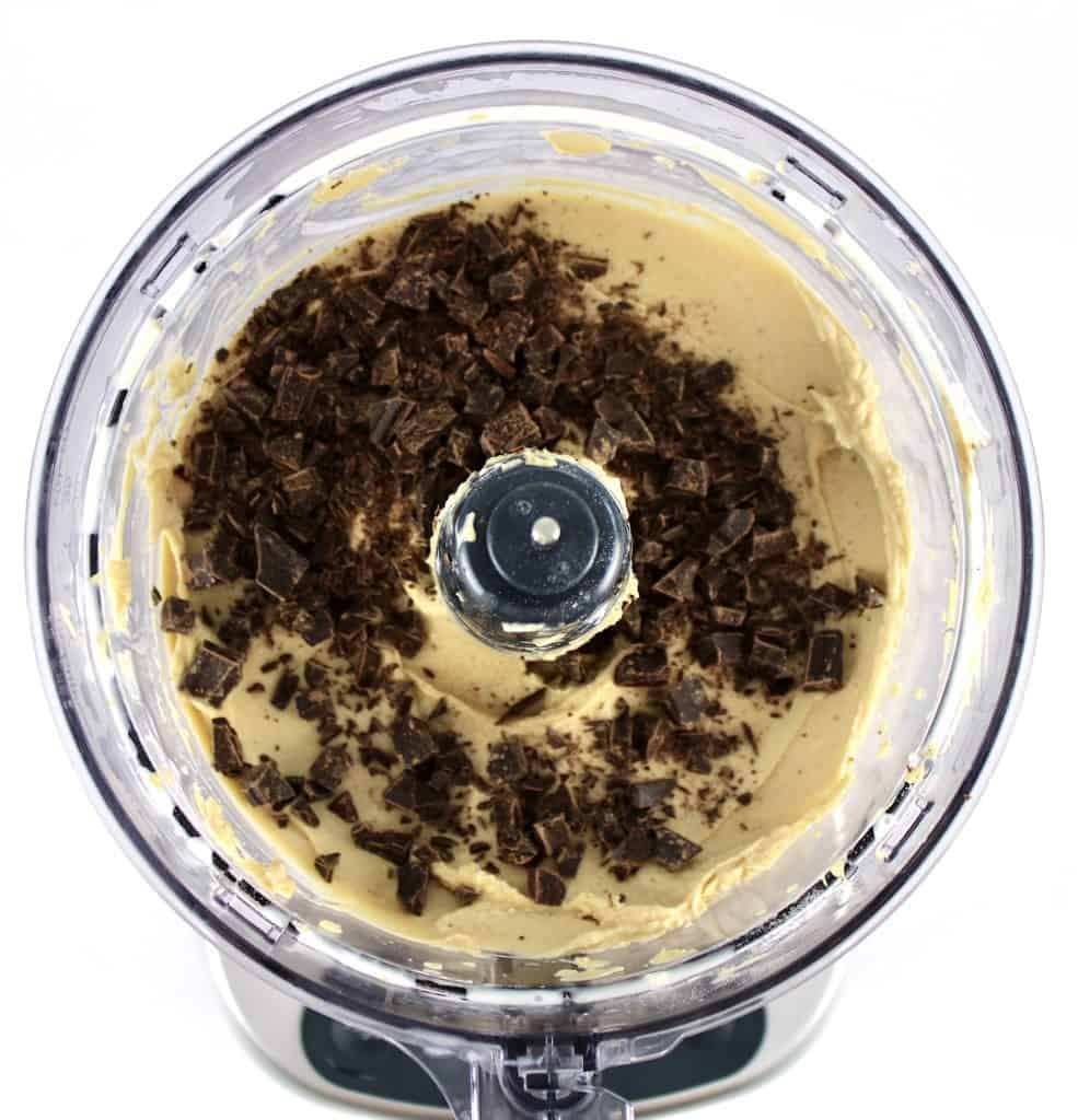 coffee ice cream mixture with chopped chocolate in food processor