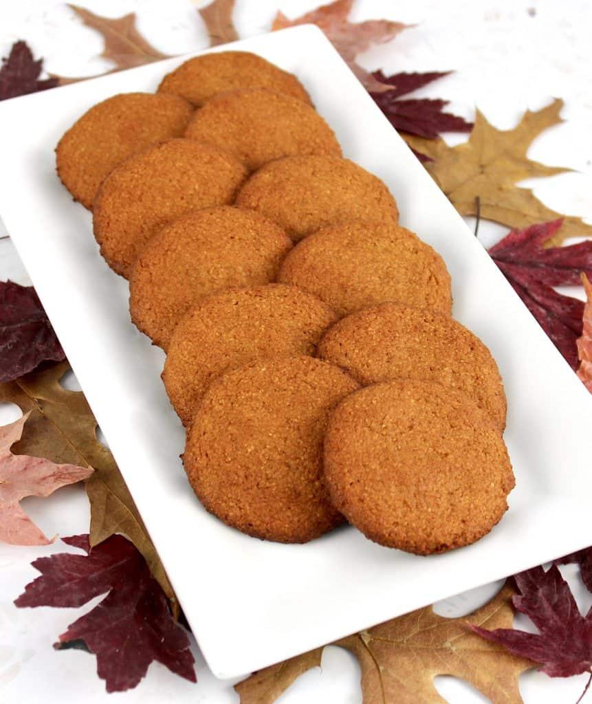 pumpkin cookies on white platter