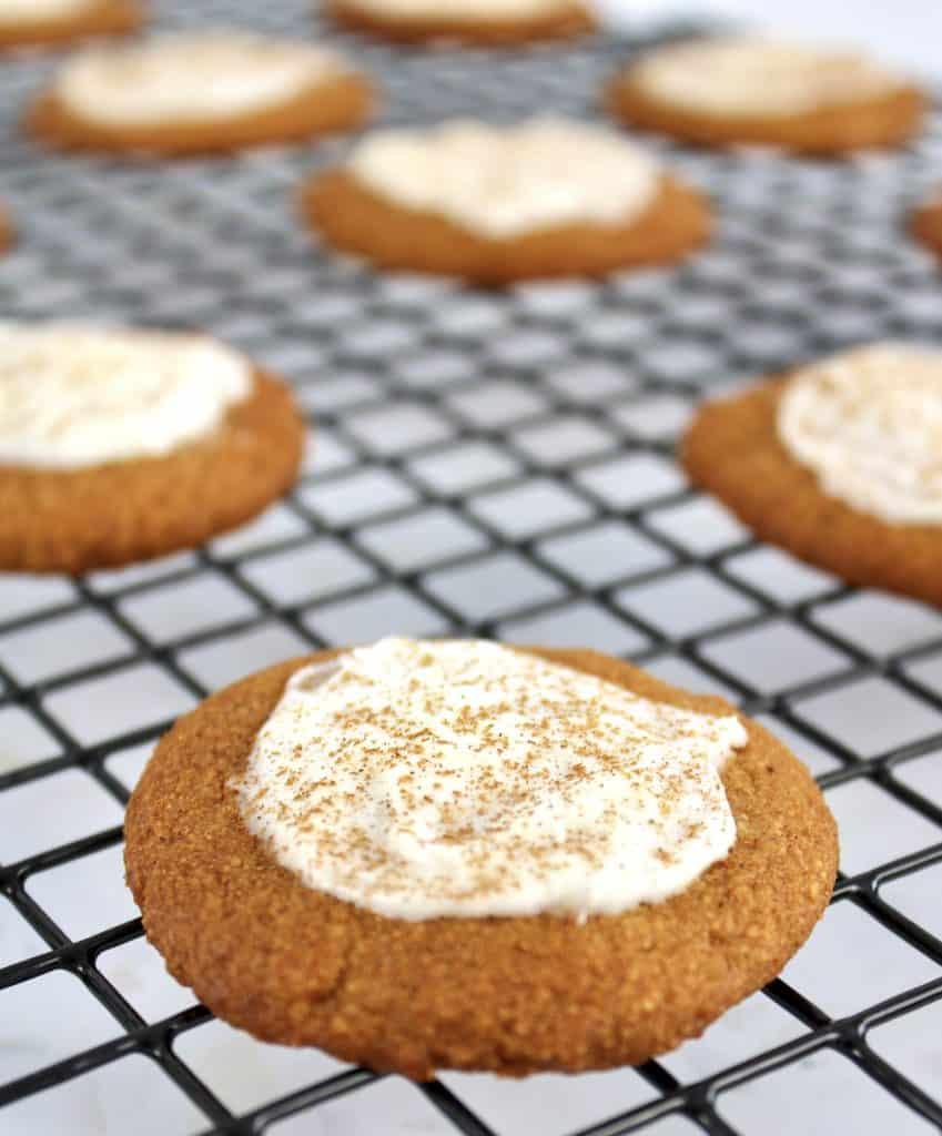 Keto Pumpkin Cookies on cooling rack