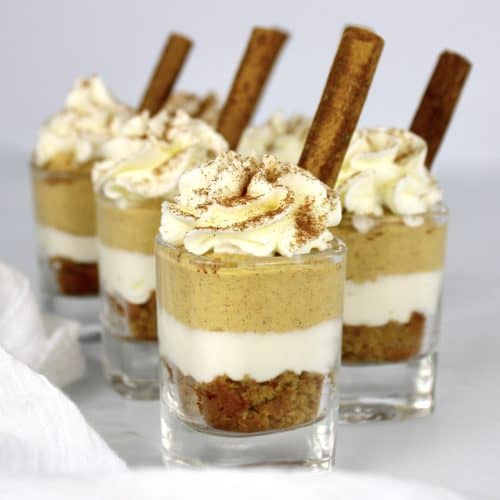 Keto Pumpkin Pie Mini Trifles in shot glasses