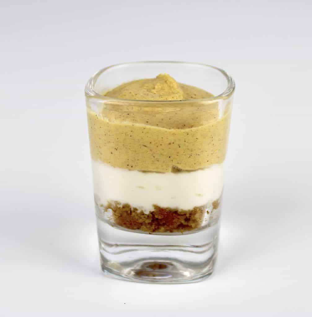 Keto Pumpkin Pie Mini Trifle in shot glass
