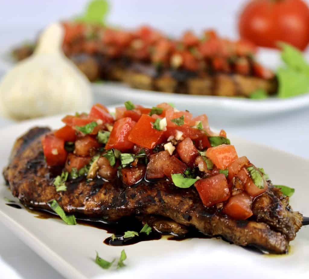 Grilled Bruschetta Chicken with balsamic drizzle over the top