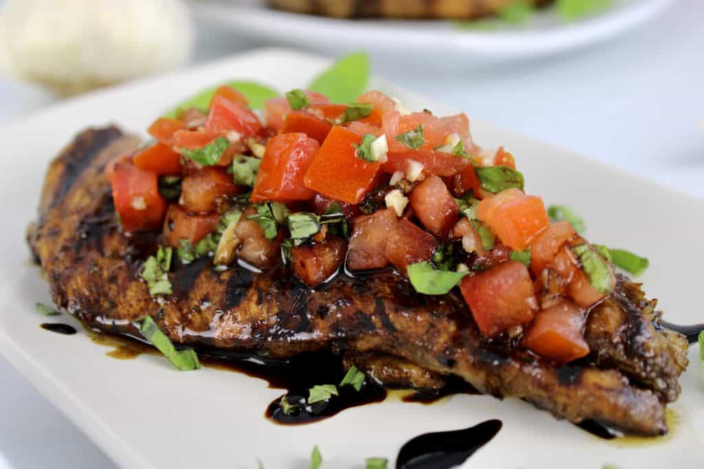 Grilled Bruschetta Chicken with balsamic reduction over the top