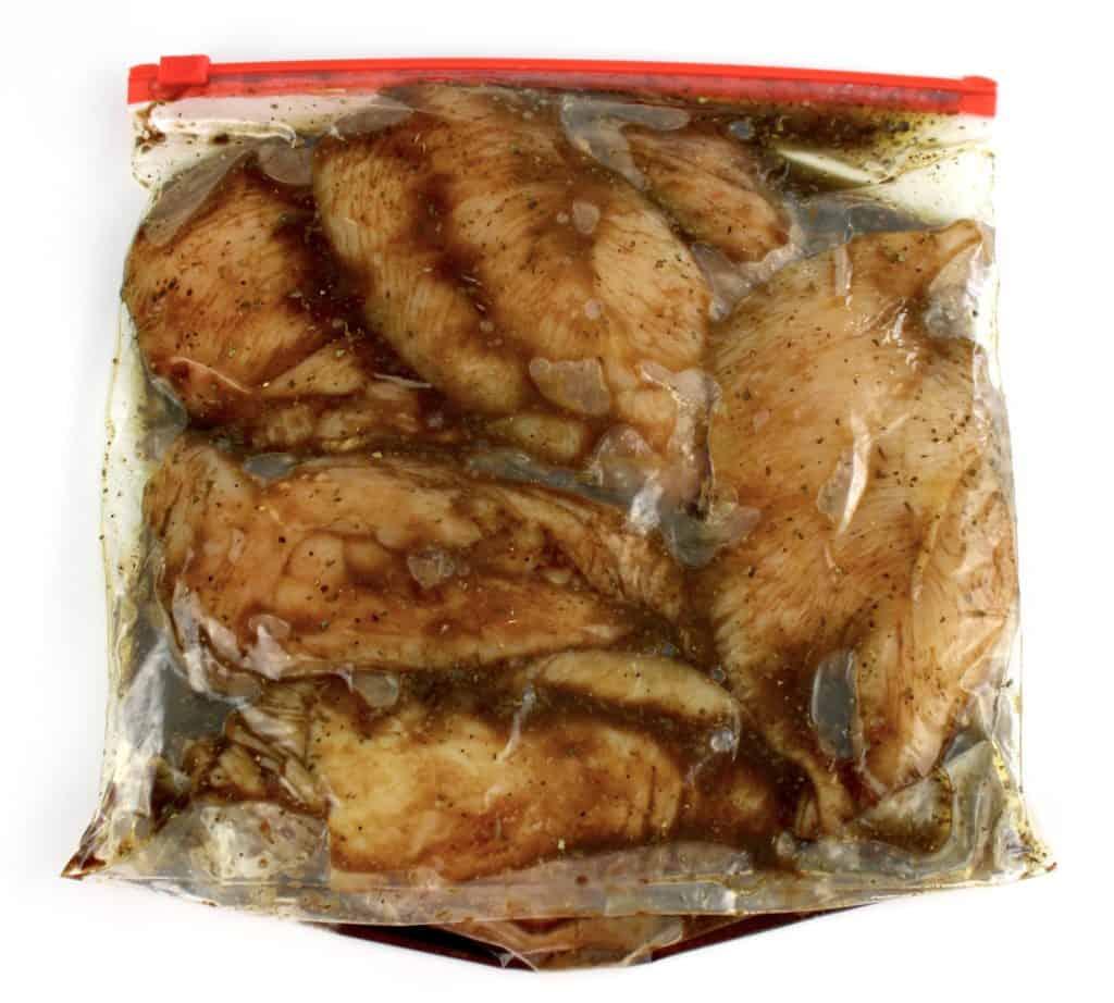 marinated chicken in food storage bag