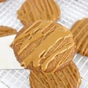 Keto Salted Caramel Cookie being held up by spatula