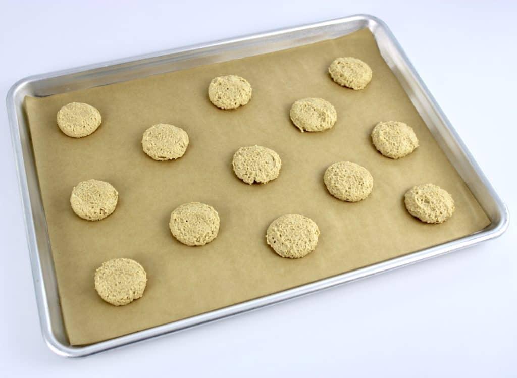 keto salted caramel cookie dough on baking sheet