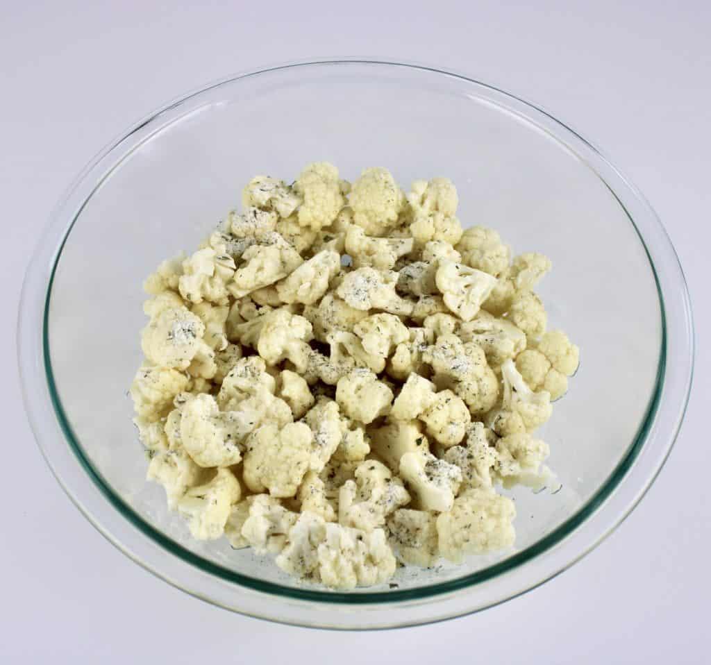 cauliflower with ranch seasoning in glass bowl