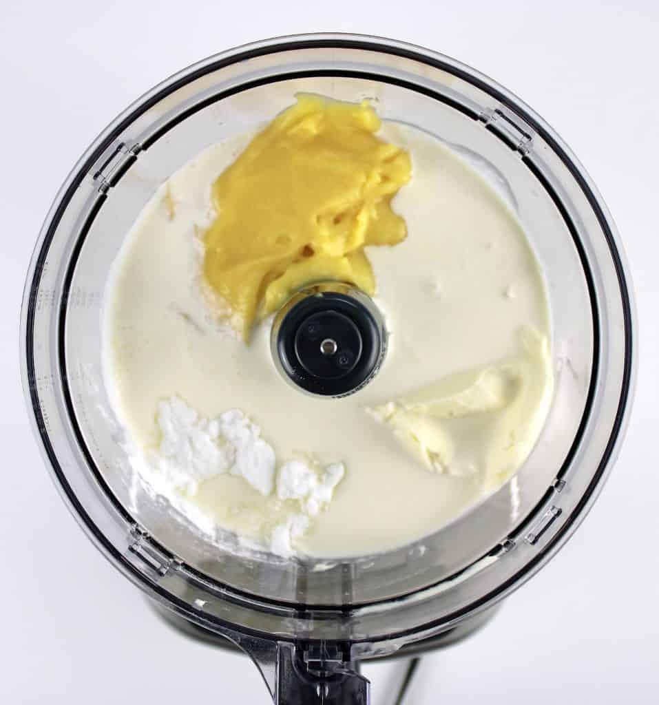 lemon ice cream ingredients in food processor unmixed