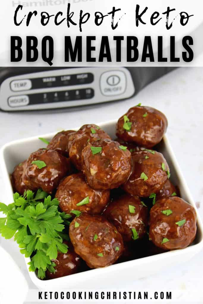 Crockpot Raspberry BBQ Keto Meatballs Pin