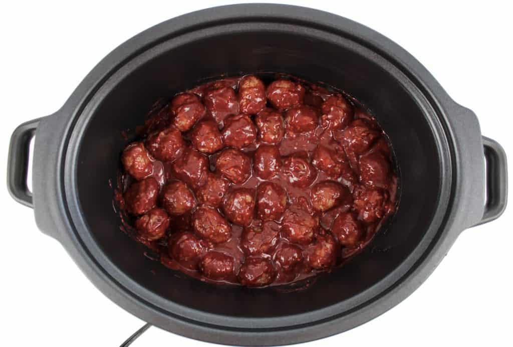 raspberry bbq meatballs in crockpot