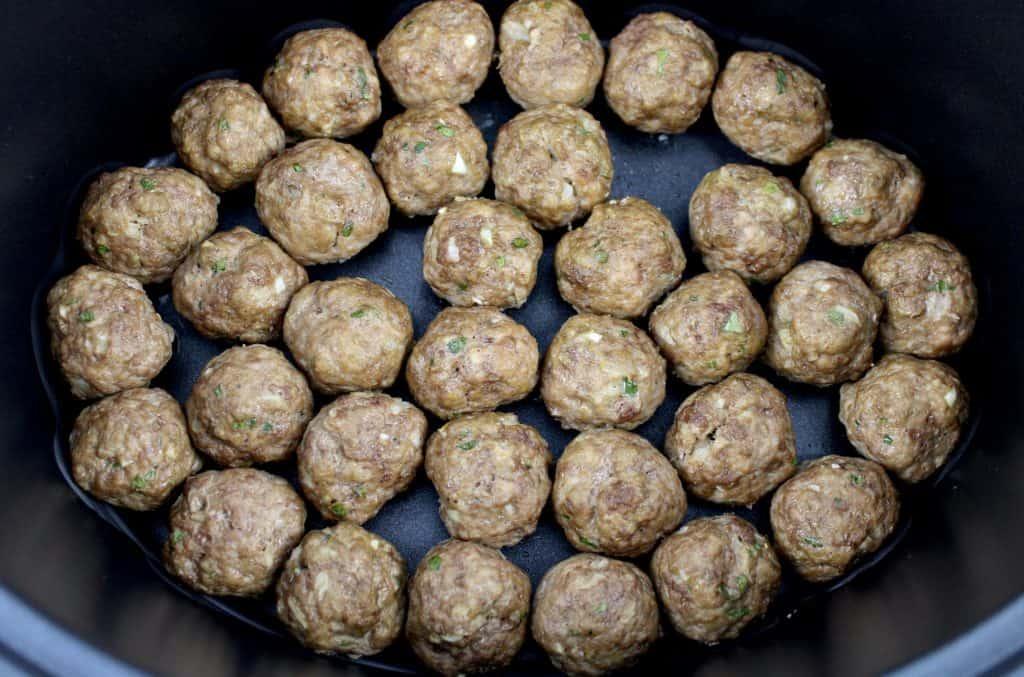 cooked meatballs in crockpot