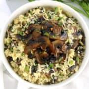 cauliflower mushroom risotto in white bowl