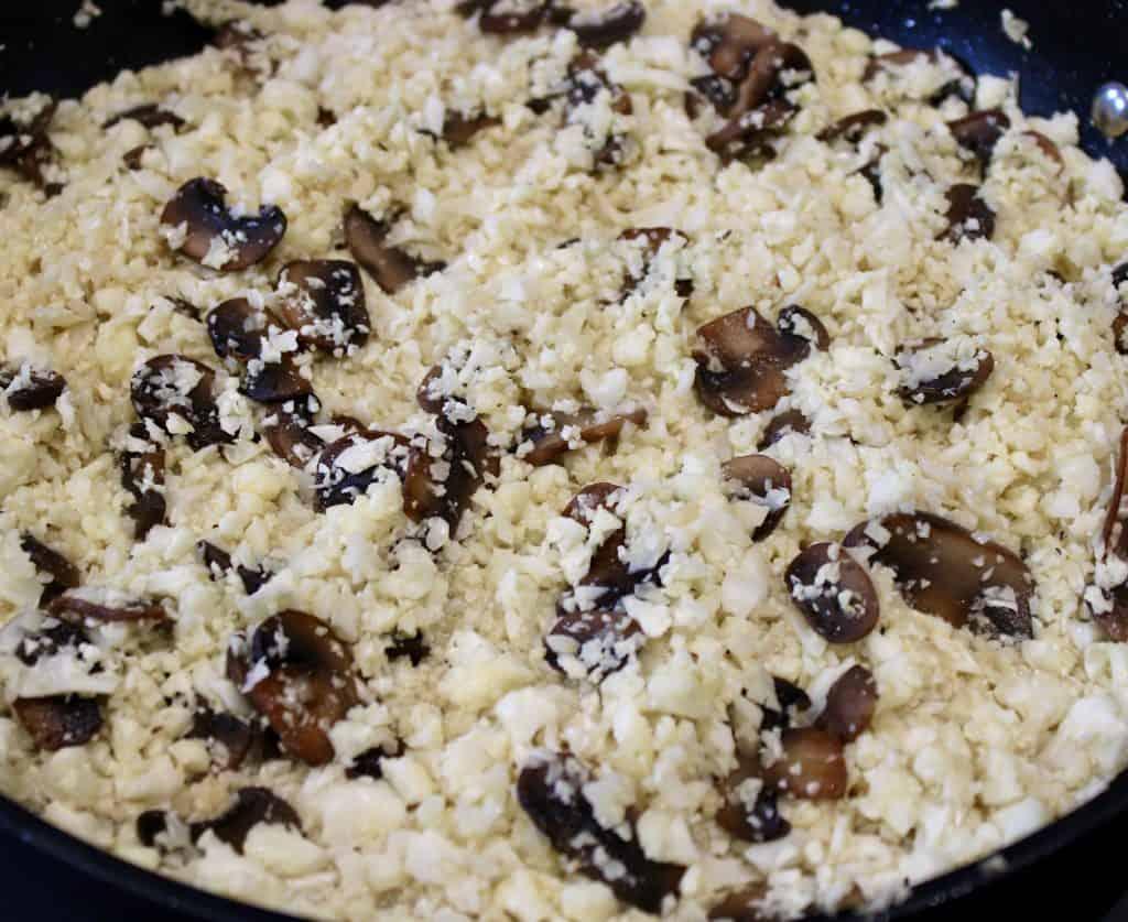 cauliflower mushroom risotto in skillet