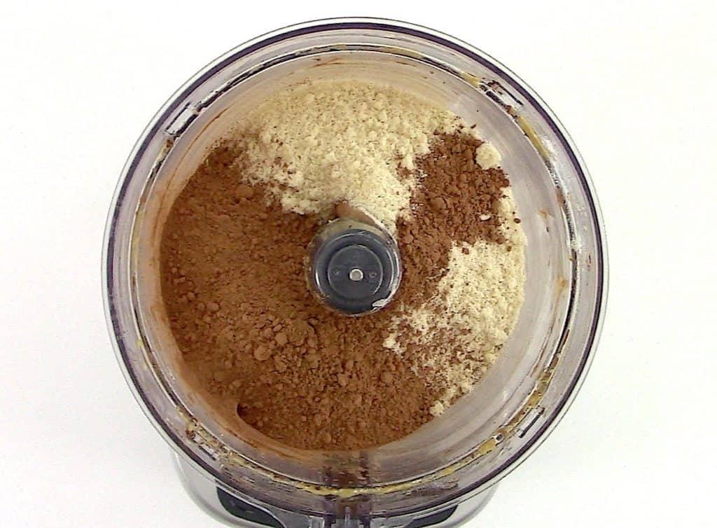 almond flour and cocoa powder in food processor