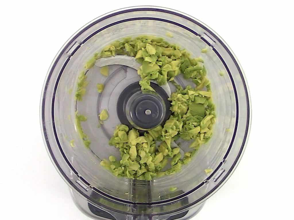 chopped avocado in food processor