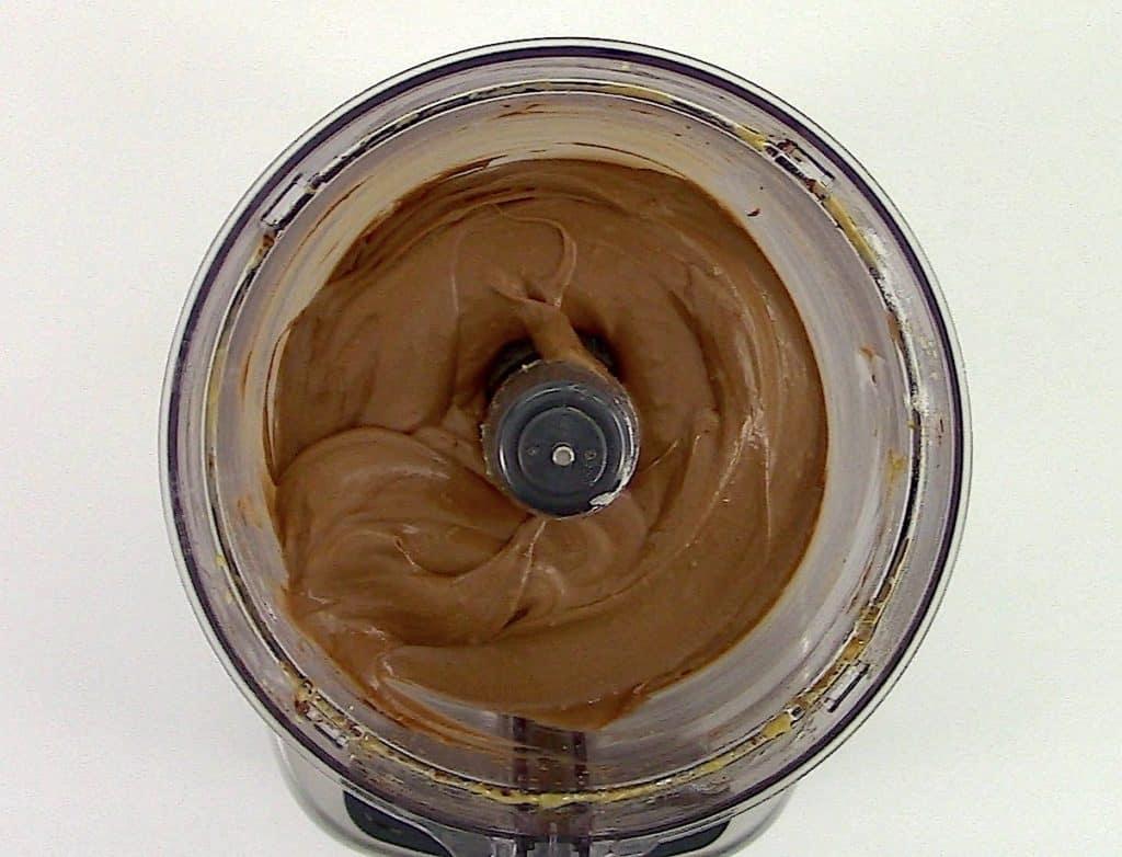 chocolate avocado brownies batter in food processor
