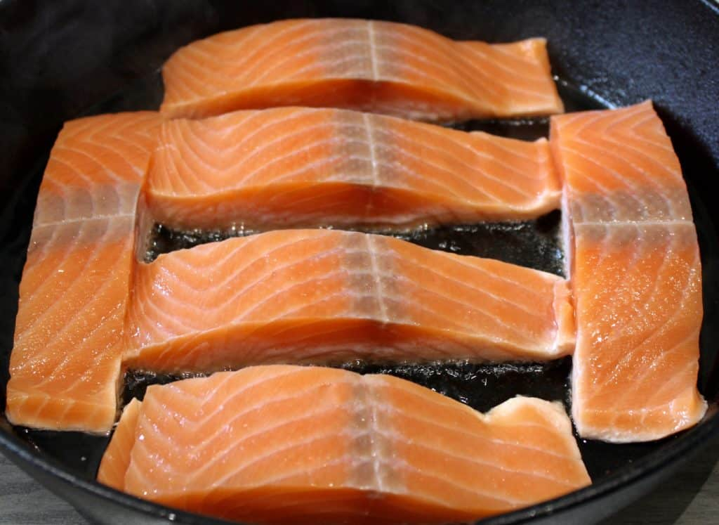 6 pieces of salmon in cast iron skillet