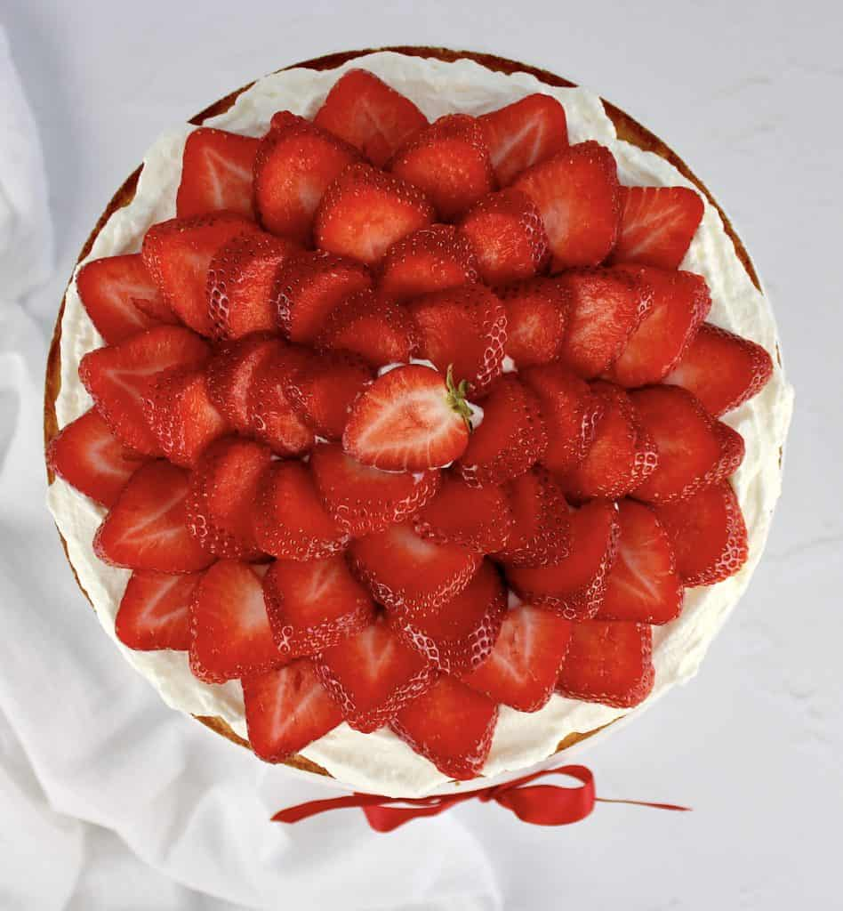 overhead view of strawberry shortcake