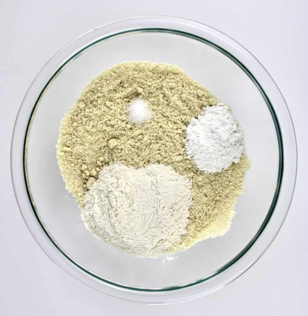 keto shortcake dry ingredients unmixed in bowl