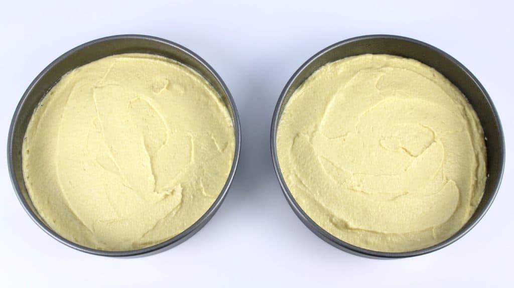 shortcake batter in 2 cake pans