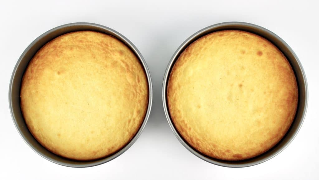 2 baked shortcakes in pans