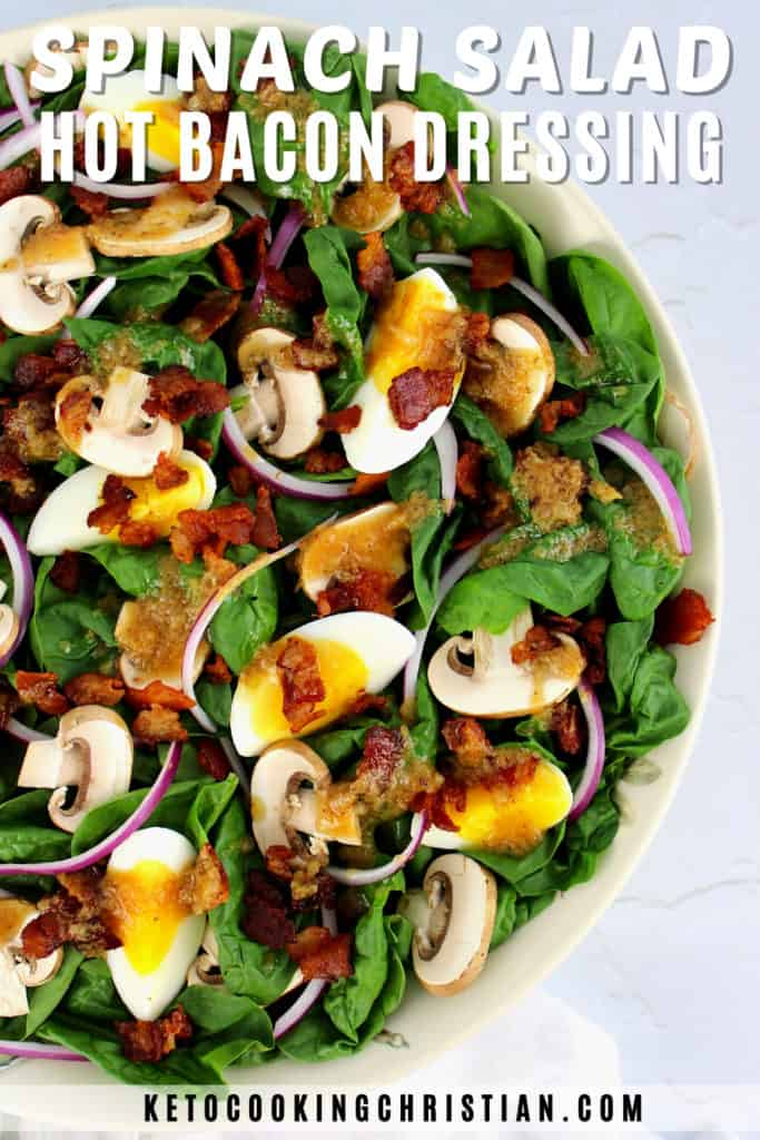 Spinach Salad with Hot Bacon Dressing Pin
